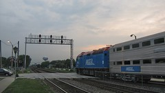 Westbound Metra commuter local departing Brookfield Illinois. July 2008.
