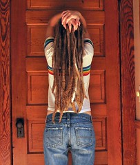6 years old (peacefulbean ( goodkarma )) Tags: door selfportrait dreadlocks hair rainbow jeans locks brenda dreads bren spt tinyhandles