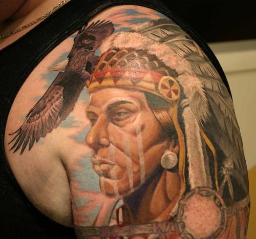 Brett Native American Tattoo Biagio · BiagioPrayingHandsCalf