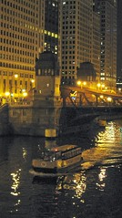 Night time on the Chicago River. Chicago Illinois. September 2008.
