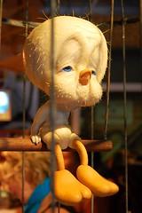 Caged Tweety (Francis Sheehan) Tags: street new york city pet bird art store village sad brothers manhattan greenwich banksy cage warner gothamist tunes seventh looney avenue tweety sick 7th christoher featherless animitronic