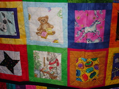 close up of the gift quilt for my baby