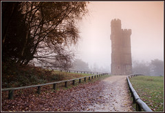 Leith Hill tower (Girthmeister) Tags: trees mist tower leaves misty fog sunrise fence landscape geotagged dawn surrey spooky 5d ghostly looming leithhill 24105mm leadin geo:lat=51176347 geo:lon=0371301