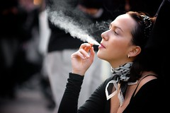 Elena.03 (Fabiana Zonca) Tags: portrait people woman london scarf cigarette smoke streetphotography nottinghill 50150mm imagetype photospecs stockcategories