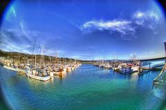 Boats, Half Moon Bay (shollingsworth) Tags: blue sea sky water boats bay pier calm fisheye russian halfmoonbay hdr hollingsworth stephenhollingsworth