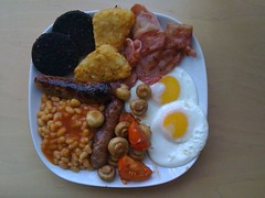 full enlgish (lomokev) Tags: england food breakfast tomato mushrooms bacon beans brighton unitedkingdom egg sausage plate friedegg hashbrowns fryup iphone kemptown blackpudding fullenglish friedbread beanbarrier airme