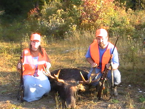 Jim and                            Trisha with moose