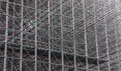 Latticework (Sergei Golyshev (is back)) Tags: red urban abstract building metal grey construction bars scaffolding spot spots montage frame framework lattice regular engeneering