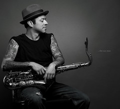 ...the sax man (Ainsley Joseph) Tags: bw tattoo nikon saxaphone f28 80200mm ab800 d700 ab400