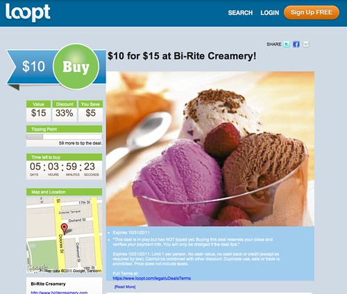 A screenshot of fake Loopt deal for Bi-Rite Creamery