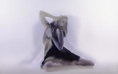 Angel or Demon? (MeggDoerner) Tags: motion blur studio hands women purple chest gripping