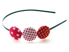 Polka-Dotted Red and White Buttons Headband