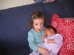 Emerson practicing being an older sister