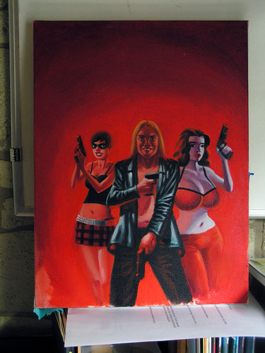 Rick Altergott's original painting for the cover of The Troublemakers by Gilbert Hernandez