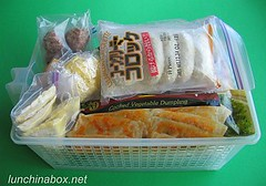 Freezer basket with bento food