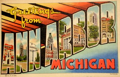 Greetings from Ann Arbor Michigan postcard (Smaddy) Tags: saint st mi 1930s museumofart linen michigan postcard 1938 annarbor universityofmichigan hillauditorium westhall burtonmemorialtower dentalschool greetingsfrom largeletter westengineering curtteich thomascatholicchurch washtenawcountycourthouse havenhall alumnimemorialhall