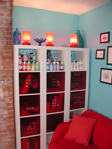 Ikea Shelves, Glass, LIghting, Paint - South Wall