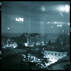 A strangely starry night.. (...cathzilla) Tags: city monochrome night buildings reflections turkey lights restaurant view trkiye lubitel blacksea trabzon underthesky