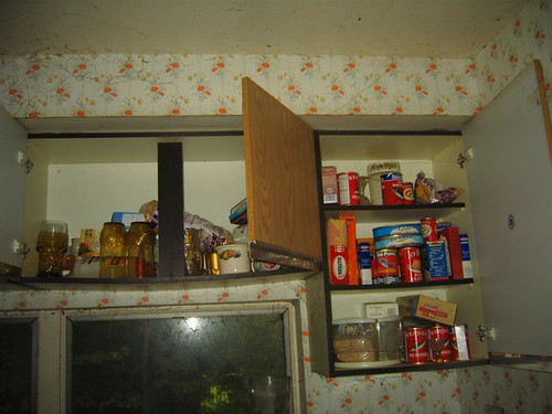 Old canned food in the cupboard