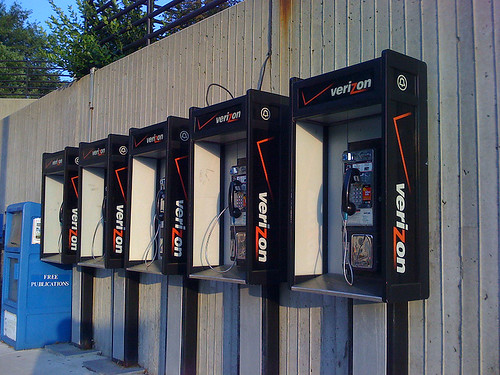 Verizon payphones at Forest Glen Metro Station - Taken With An iPhone