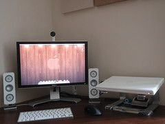 Macbook Desk Setup (js1stuff) Tags: desktop camera wood original wallpaper art apple wall hub notebook nokia stand webcam dock mac keyboard aluminum imac underwater ipod 21 desk laptop air touch elevator walnut mini olympus monitor dell revolution usb pro wireless 24 setup isight 20 custom nano bluetooth shuffle mode mx mb speakers griffin scroll 1gb external logitech 201 2007 clamshell firewire 2005fpw mbp dvi 1080p fitted 2408 6300 macbook z4i rotatable 850sw 2009w 2009wfp