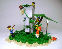 Get the monkey! (DARKspawn) Tags: statue monkey comedy lego native head islander pirate easterisland vignette diorama legopirates bignette