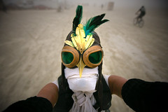 aquiline (sgoralnick) Tags: selfportrait bird dusty me festival desert mask nevada goggles feathers burningman blackrockcity brc duststorm blackrockdesert sgoralnick squirrelneck burningman2008 burningman08 bm08