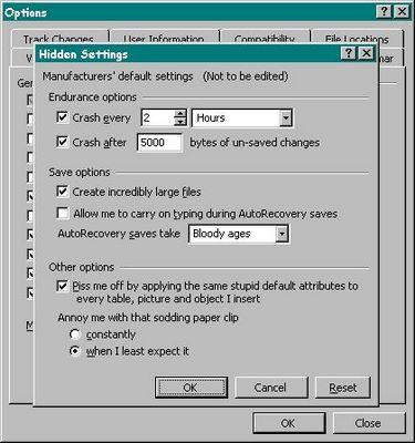 Microsoft hidden options menu