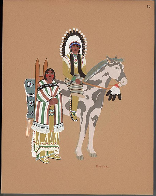 Kiowa warrior on horse and wife standing by : American Indian print, 1929 - Stephen Mopope