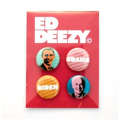 Ed Deezy - Obama / Biden Buttons. (ed deezy) Tags: hope election president button andywarhol packaging change merchandise etsy vote product obama striped biden pinkback eddeezy