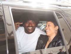 shaq rocking a wig with his wife