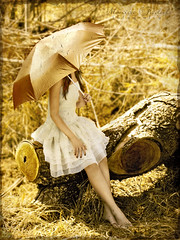 Like Dreamers do (Nika Fadul) Tags: white tree girl umbrella golden sitting dress sunny estrada miranda tronco galho uberlndia mnicafadul nikafadul lviafernandes