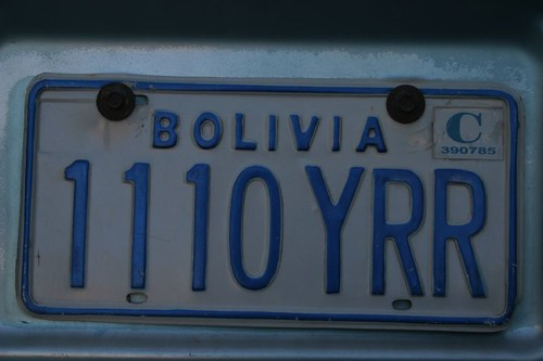 Licence plate, Bolivia