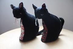 two cats (little love blue) Tags: wool animal blackcat handmade etsy