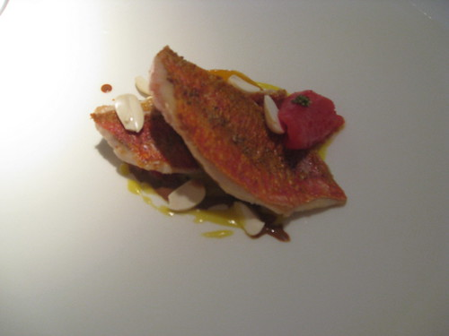 Barcelona, Alkimia: Red Mullet (Snapper) with Tomato, Peaches, and Almonds