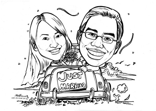 Couple wedding caricatures - just married
