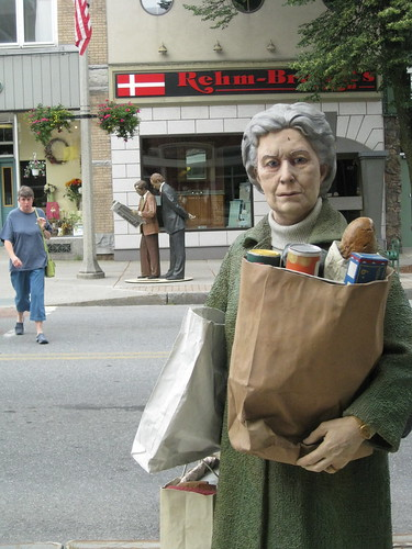 Burlington's art features realistic statues of everyday citizens