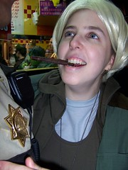 Mikhaela in Starbuck Costume w/ cigar