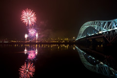 Runcorn Bridge and fireworks (John_Kennan) Tags: construction display fireworks guyfawkes firework mersey bonfirenight november5th jubileebridge runcorn widnes halton runcornbridge