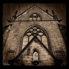 looking up (Violen's photography) Tags: old tower texture church sepia architecture temple worship god antique prayer pray gothic poland polska neogothic katowice decayed