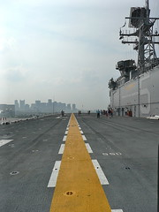 Flight deck with Boston skyline