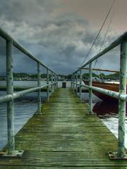 Glasson (JazzSP8) Tags: water boat vanishingpoint dock jetty hdr oldwood greysky glasson