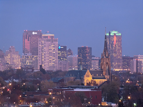 View from the top of the old South Side National Bank Tower, in Saint Louis, Missouri, USA - Saint Francis de Sales Oratory at dusk