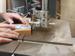 Using the diagram as a guide we used a band saw to cut the mahogany block to the snakehead shape.