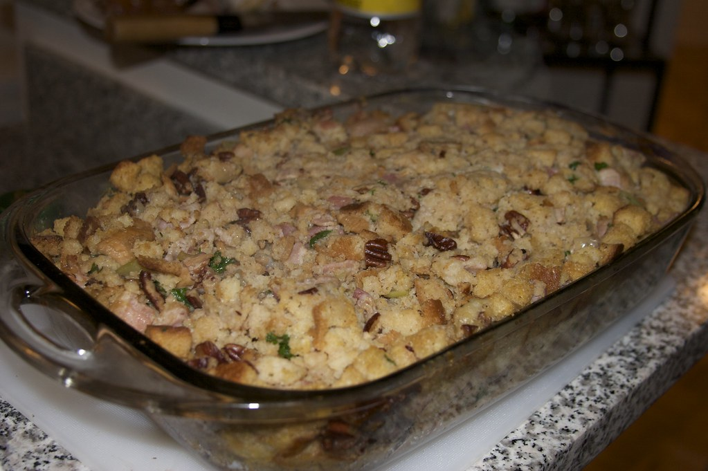Cornbread Stuffing with Pecans and Bacon