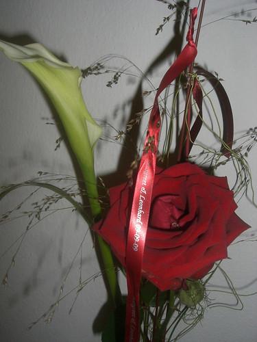 10mm rood lint met zilver bedrukt in Monotype Corsiva_1