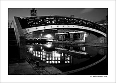 Manchester at Night (Ian Bramham) Tags: bridge blackandwhite bw industry night manchester photography canal photo nikon long exposure fineart bridges d40 ianbramham welcomeuk
