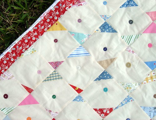 button quilt detail, border, and binding