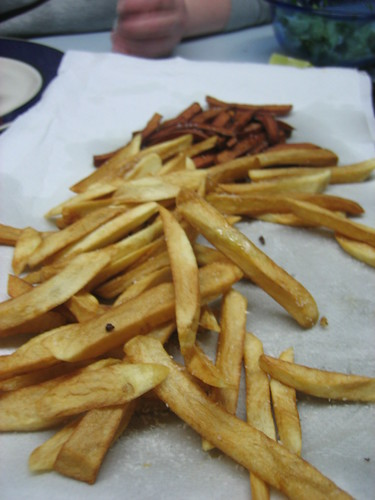 homemade french fries, russet and sweet potato