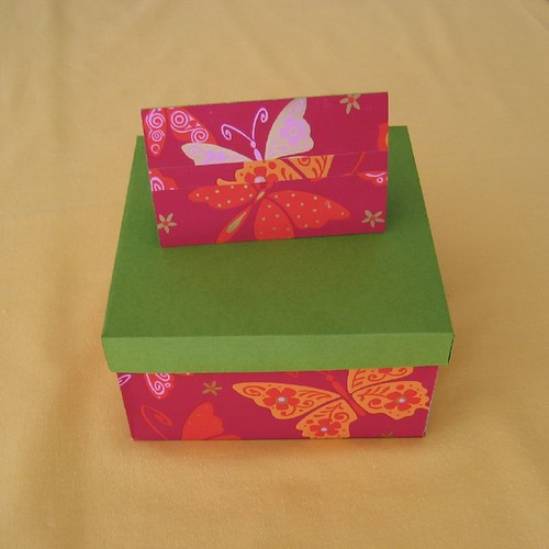 green box with card